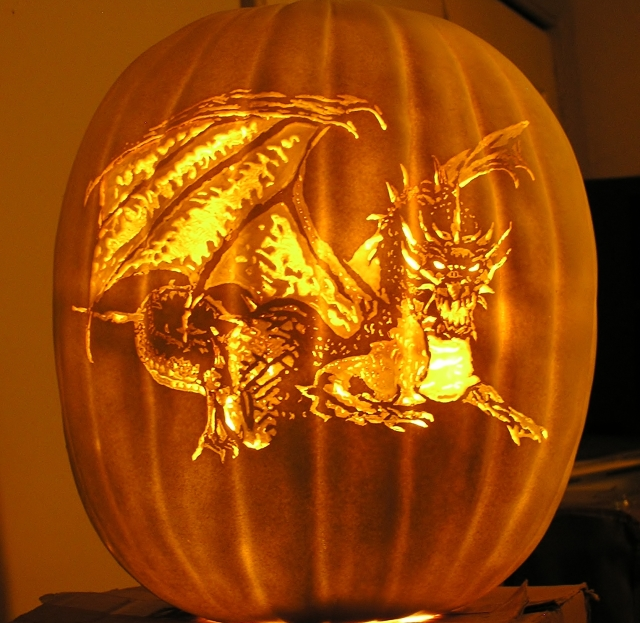 Dragon on a Pumpkin