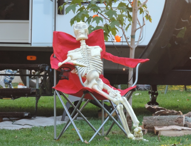 Skeleton in Lawn Chair